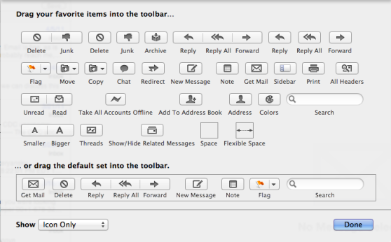 Mail Toolbar Options